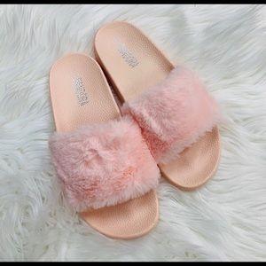 Pandora Pink Fur Slides